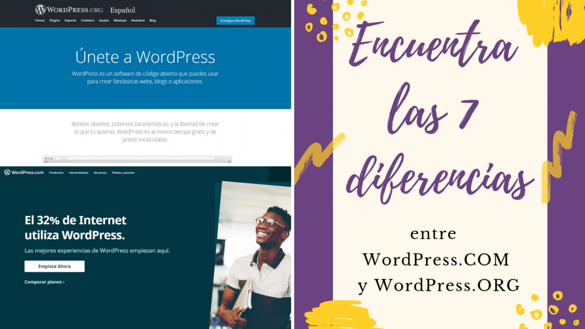Encuentra las 7 diferencias entre WordPress.com y WordPress.org